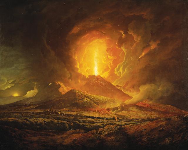 Drawn volcano fire Wright 1780 of Magazine of