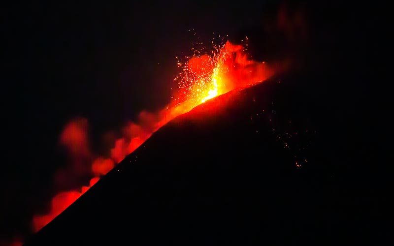 Drawn volcano fire Then to showers HELL Spring