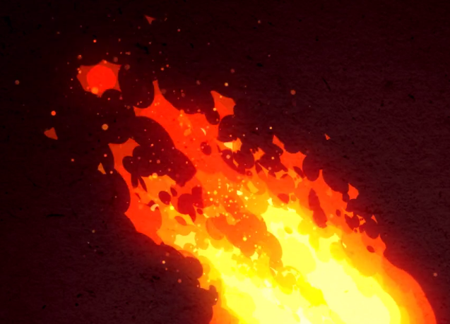 Drawn volcano fire Of up fire here 2D