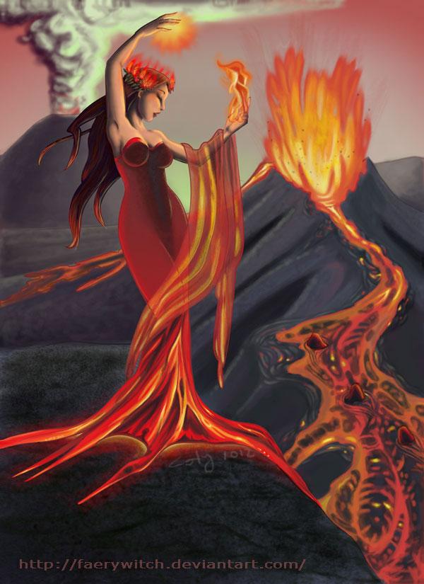Drawn volcano fire