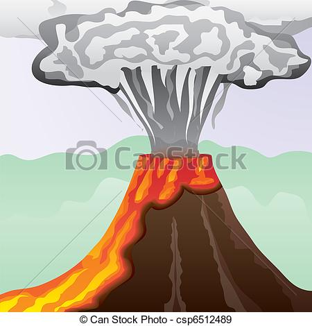 Drawn volcano lava Of fiery with big column