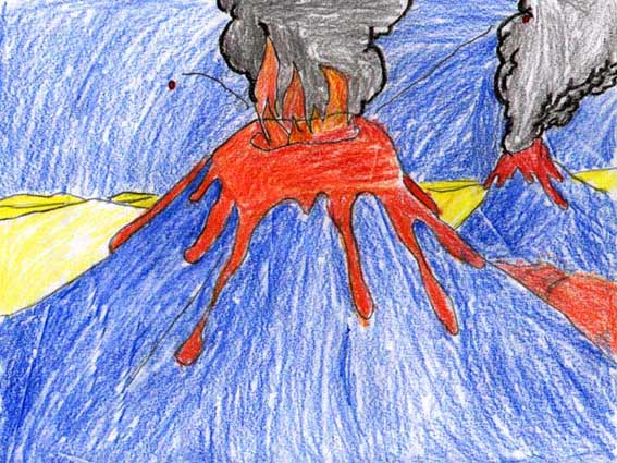 Drawn volcano lava Contest Stromboli 2000 online Drawing