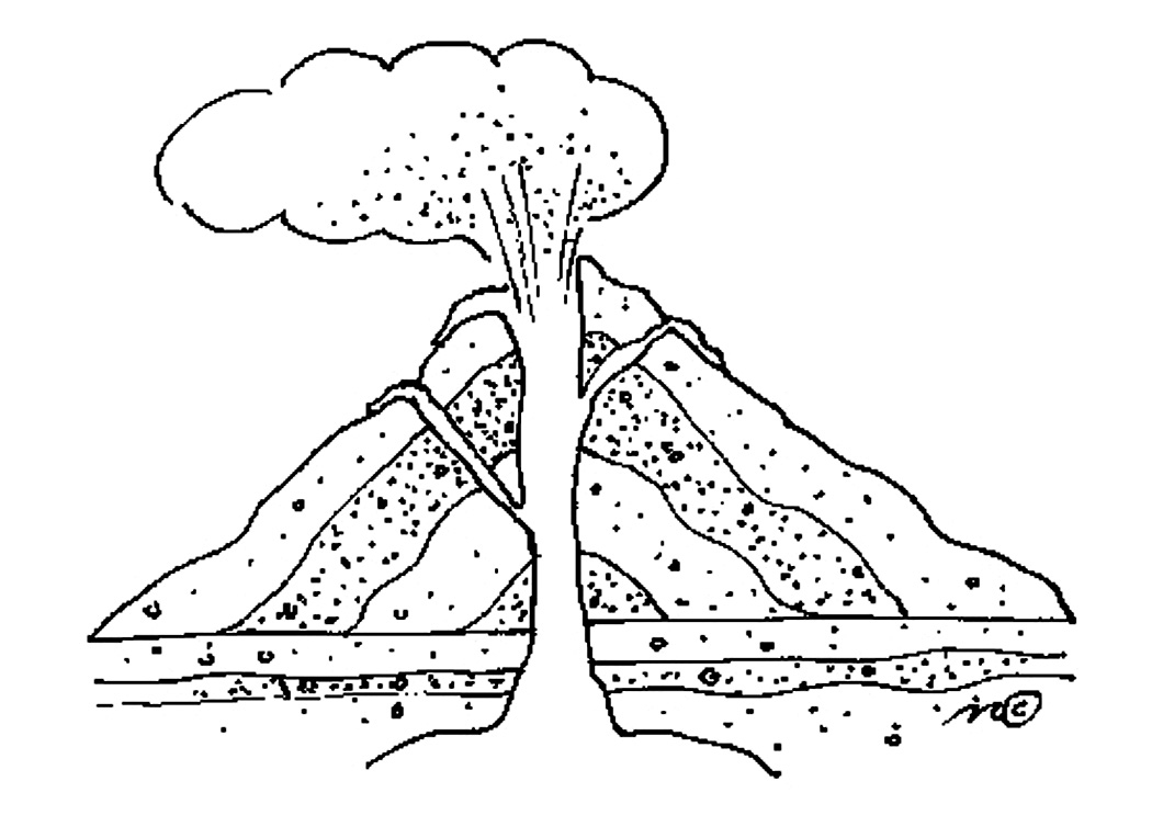 Volcano clipart outline Pages Full for Coloring Eruption