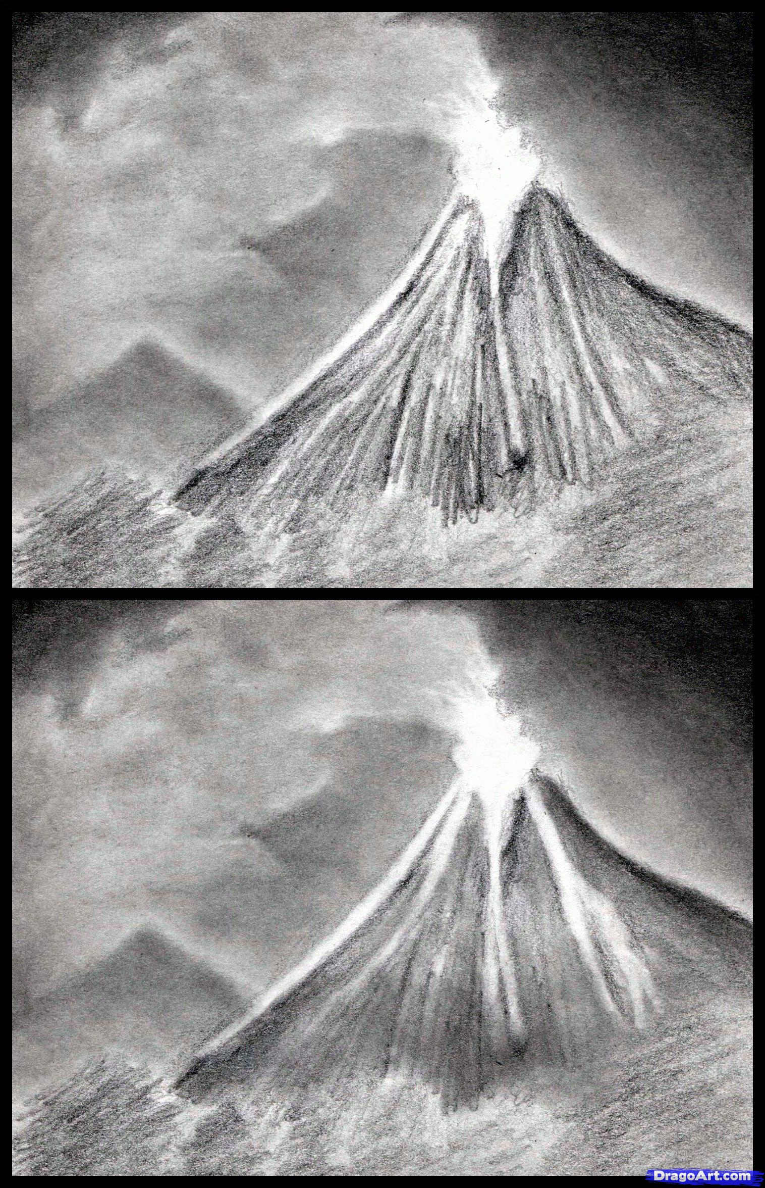 Drawn volcano pencil drawing Draw Volcanoes How to Draw