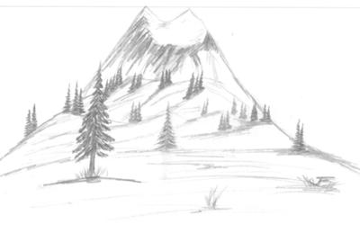 Drawn volcano pencil drawing Behind Wilderness Mountain a hill