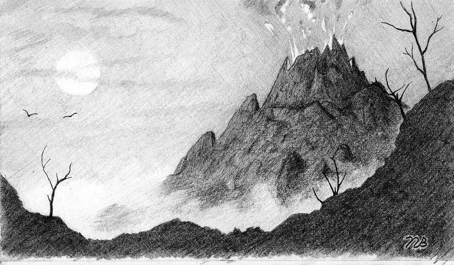 Drawn volcano pencil drawing Bifano Nils A Volcano Bifano