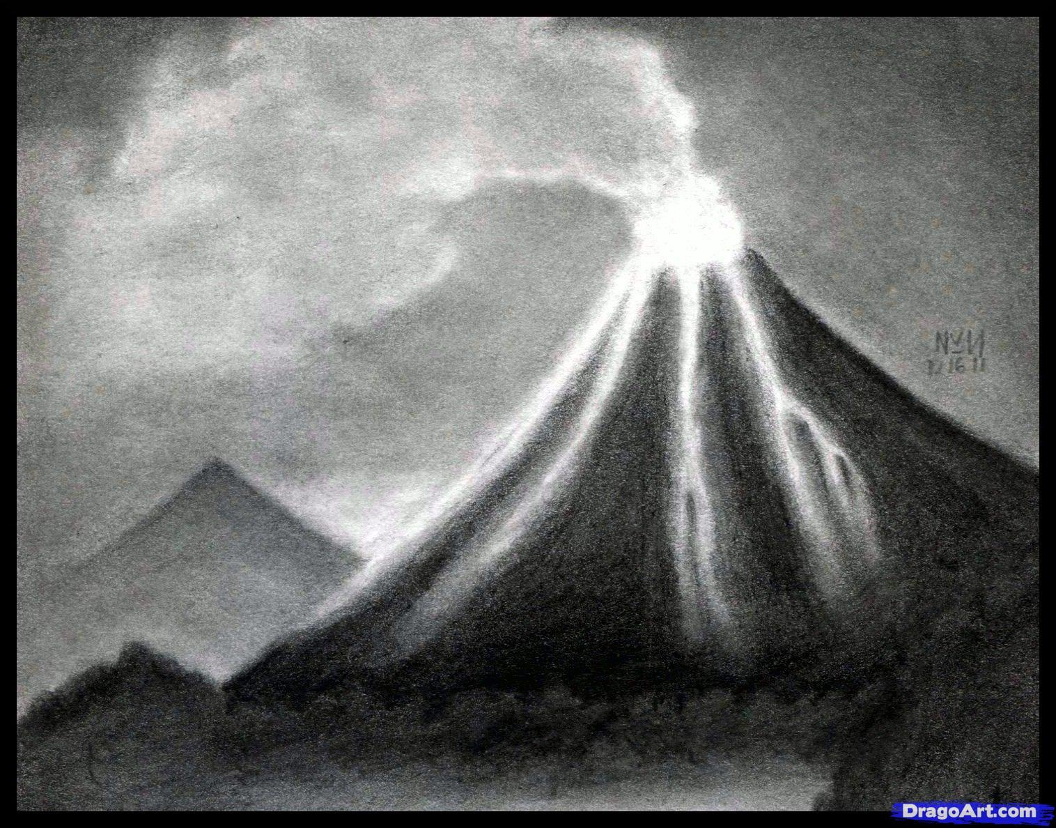Drawn volcano realistic By Step Step volcano Volcano