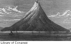 "Drawn volcano realistic ""day a the world island"