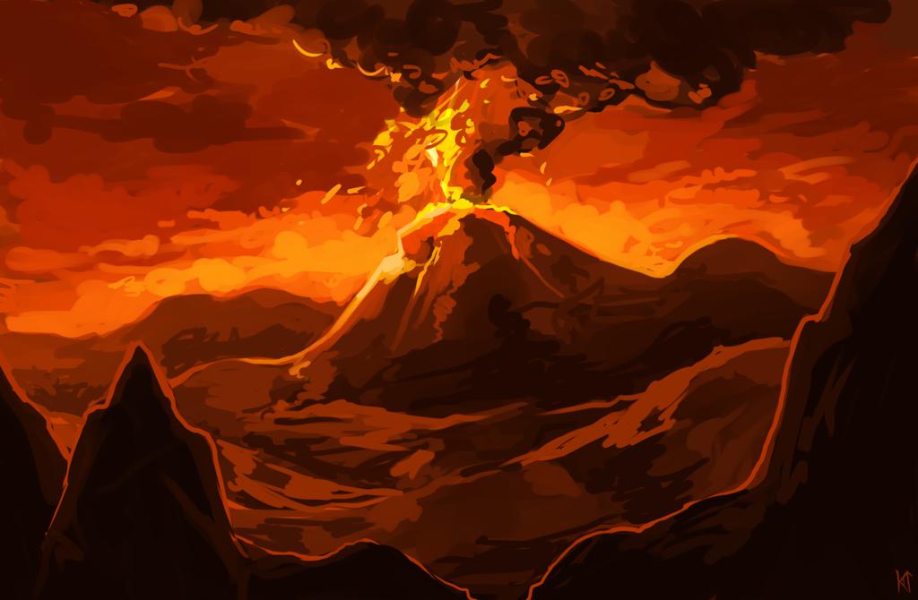 Drawn volcano realistic Eruption Drawing Volcano Volcano Volca