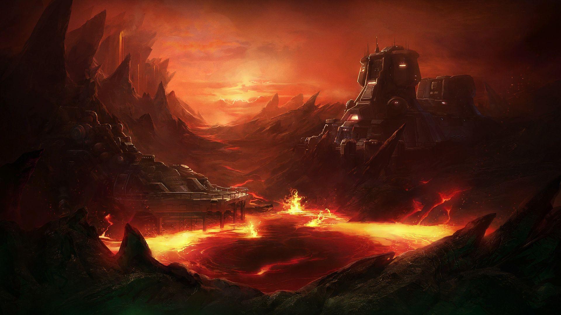 Drawn volcano sci fi StarCraft Drawing 1920x1080 wallpaper sci