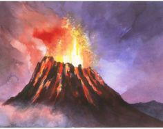 Drawn volcano supe Watercolor Ideas for tattoo