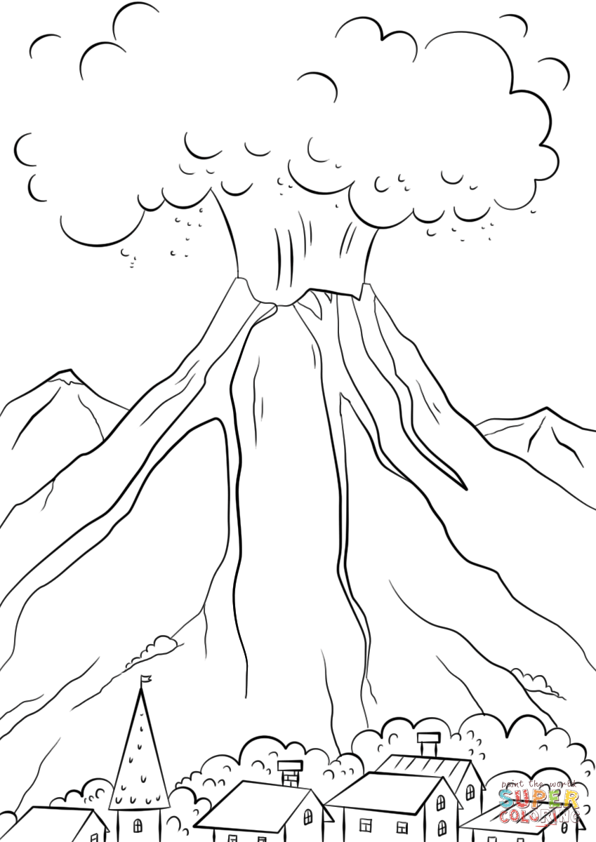 Drawn volcano volcanic eruption Printable Volcanic the page Coloring