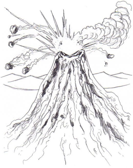 Drawn volcano volcano eruption Drawing How To ink Drawing