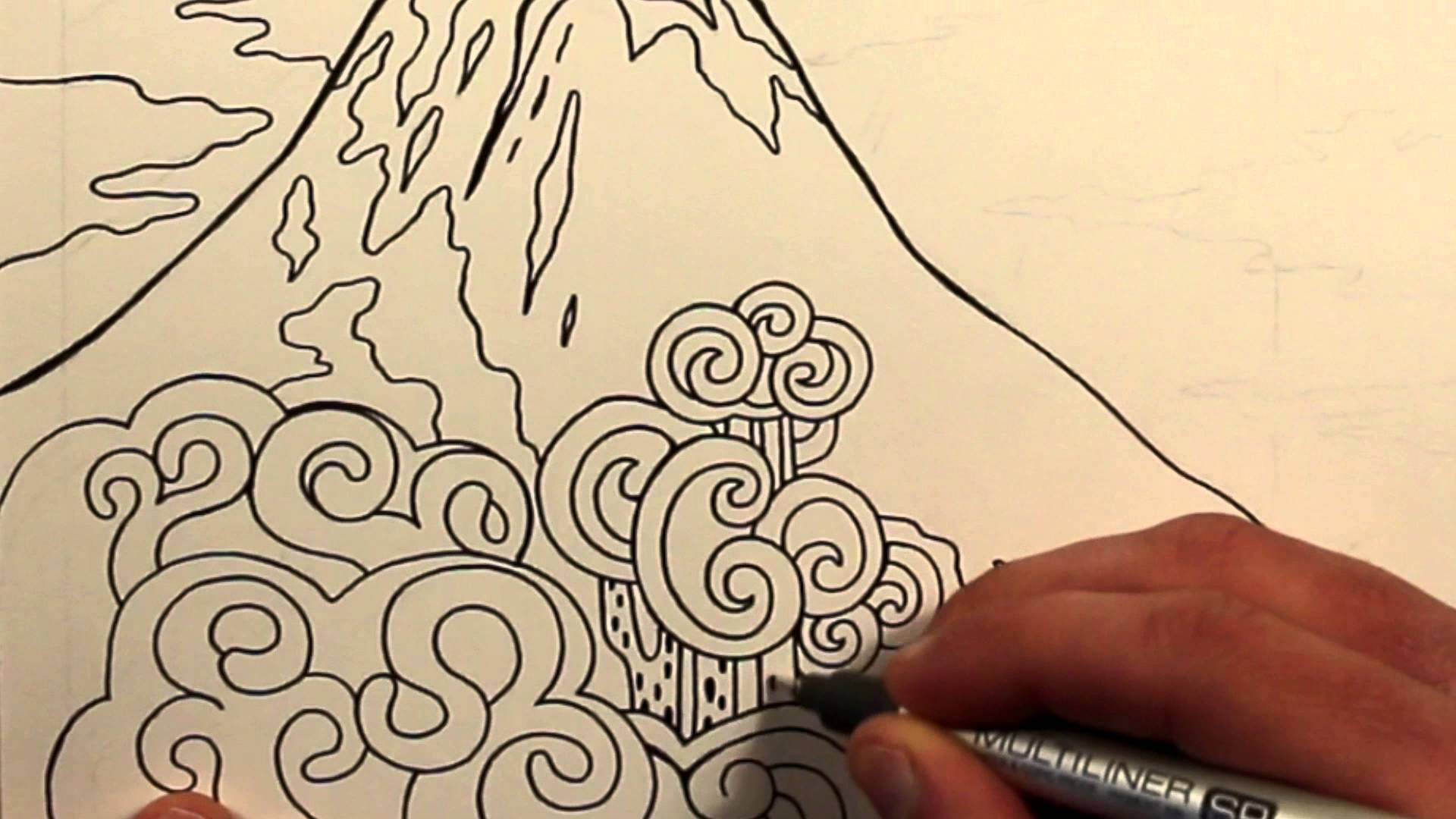 Drawn volcano volcano eruption An An Drawing Erupting Volcano