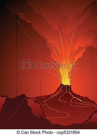Drawn volcano volcano eruption Volcano of  Erupting Vector