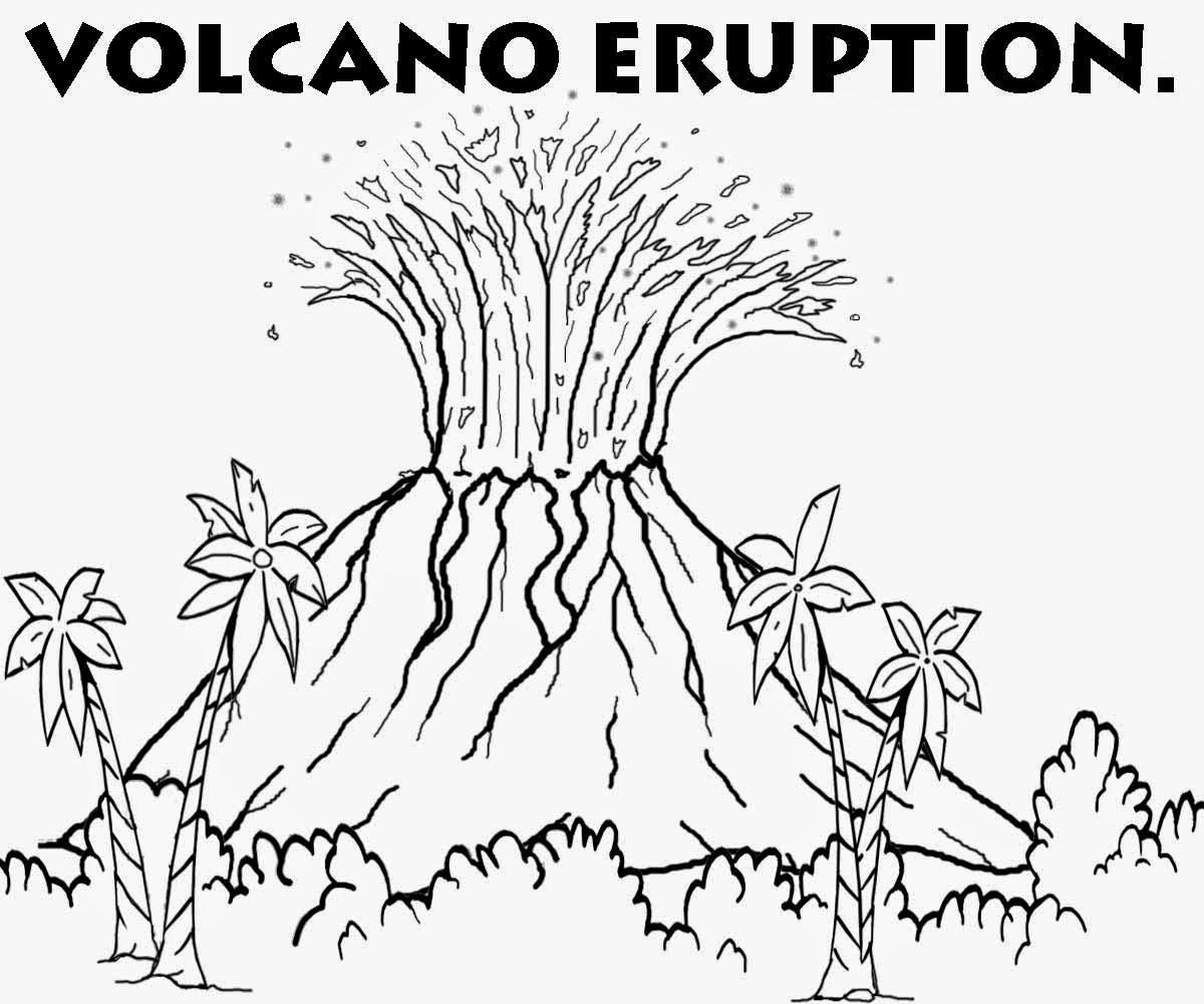 Drawn volcano volcano eruption Volcanic reptile Color Coloring for
