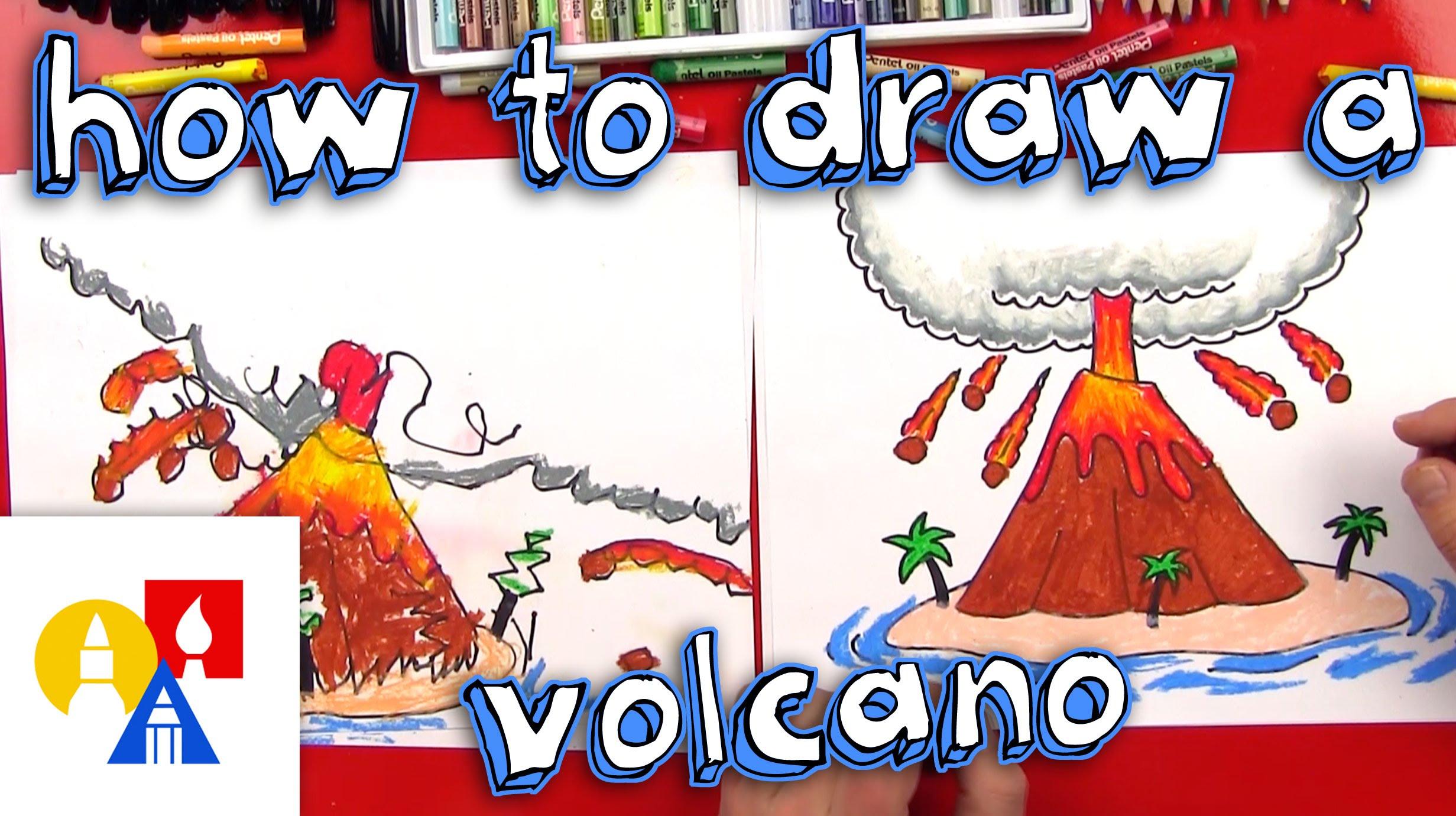Drawn volcano volcano eruption How Volcano YouTube A Draw