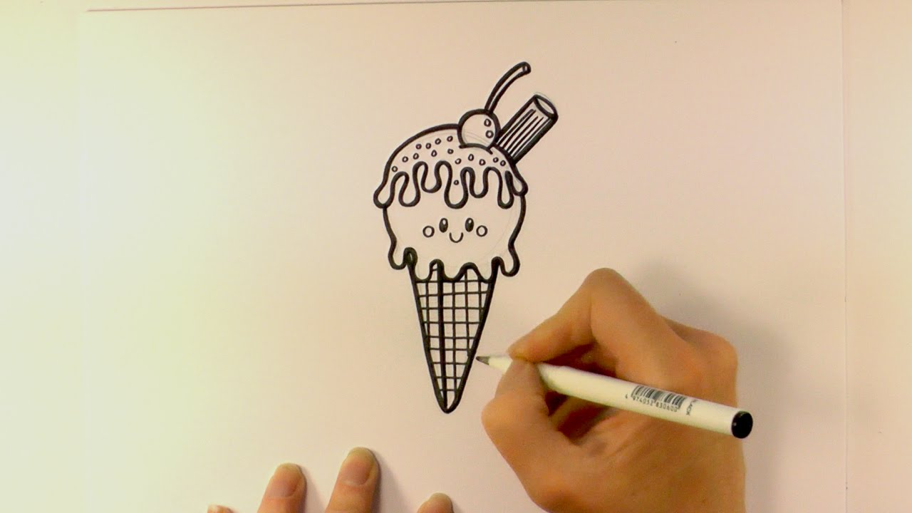 Drawn waffle cone Cartoon a Cone  a