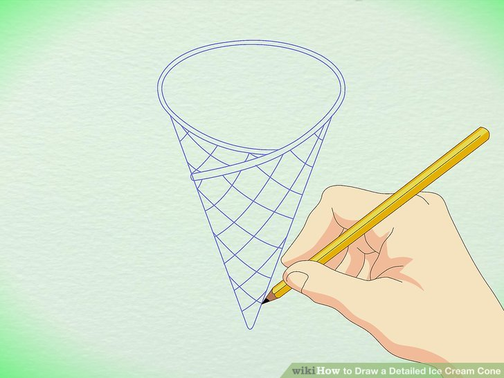 Drawn waffle cone Cone Ice Detailed Ice wikiHow
