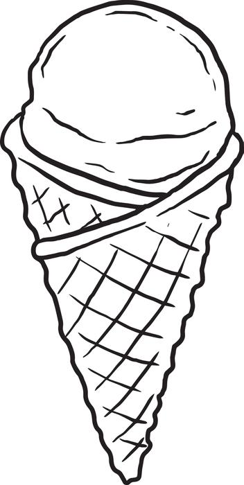 Waffle Cone clipart coloring page Free  Cream Coloring Free