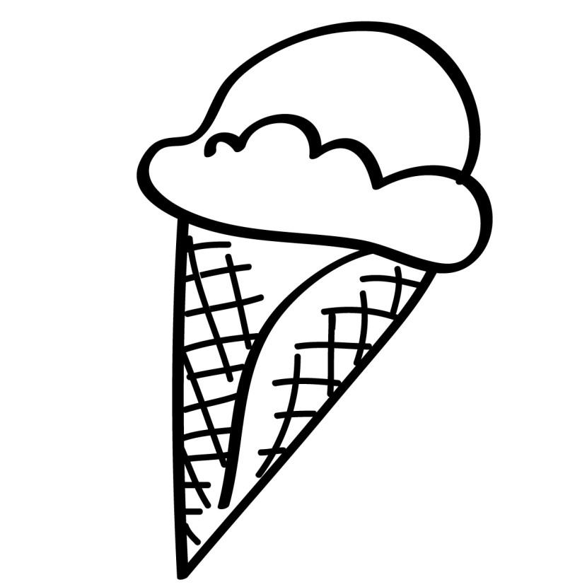Black & White clipart ice cream 3 ice white cone Clipartix