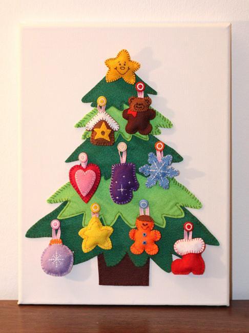 Drawn christmas ornaments fun christmas Way trees on drawn panels