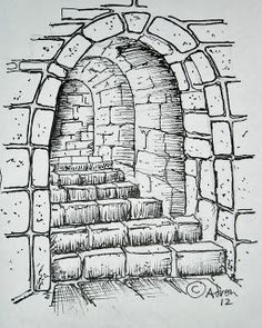 Drawn stairs brick wall  The With Gate How
