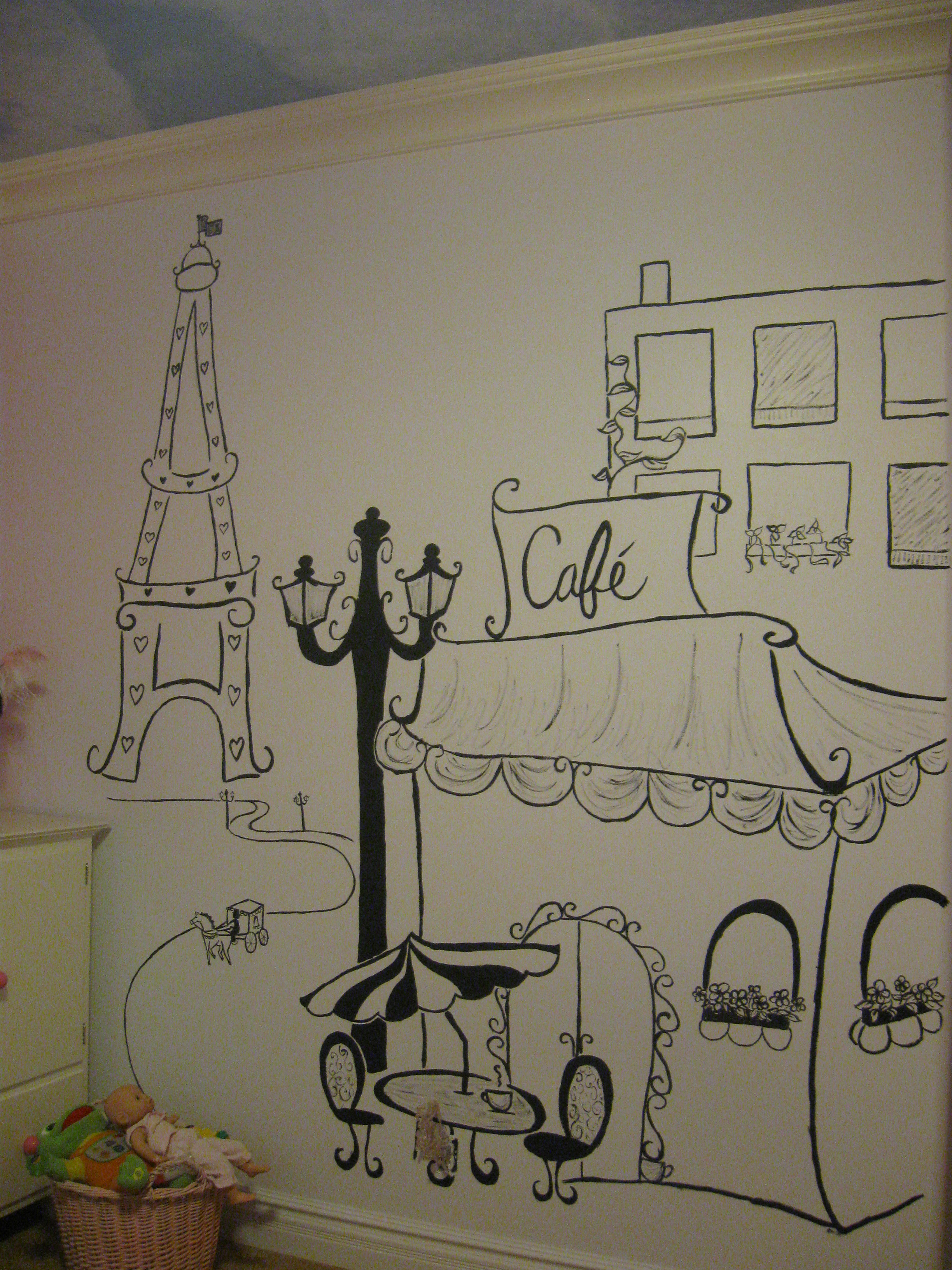 Drawn wall Themed art wall Paris Paris