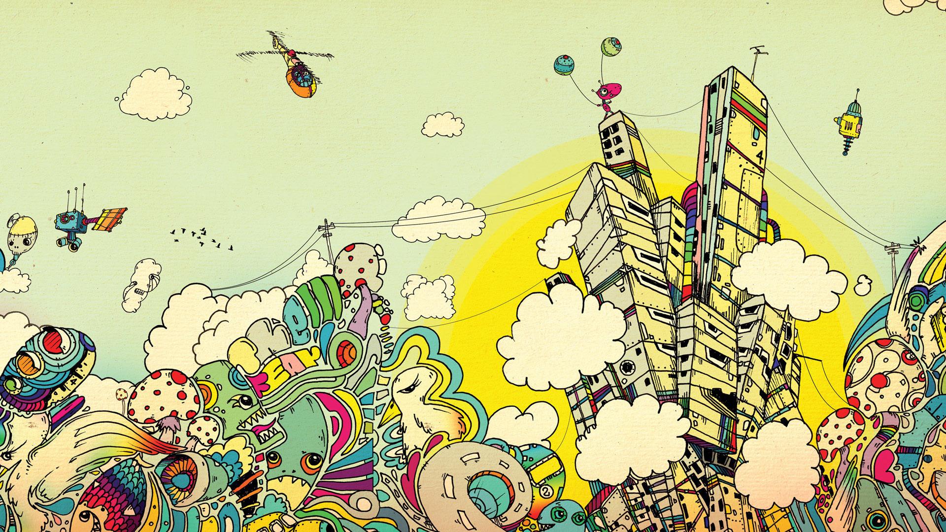 Drawn background desktop Colorful HD Landscape Net wallpaper