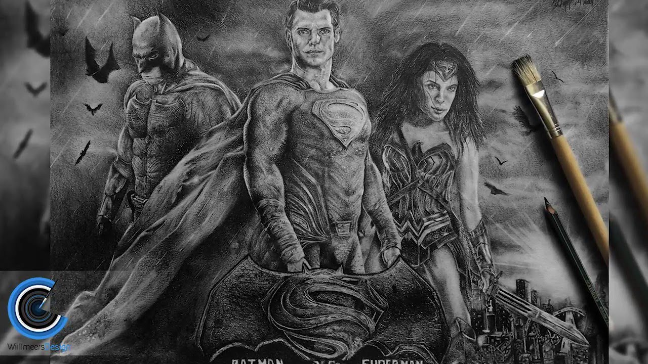 Drawn wallpaper batman Superman a SpeedDraw VS Superman