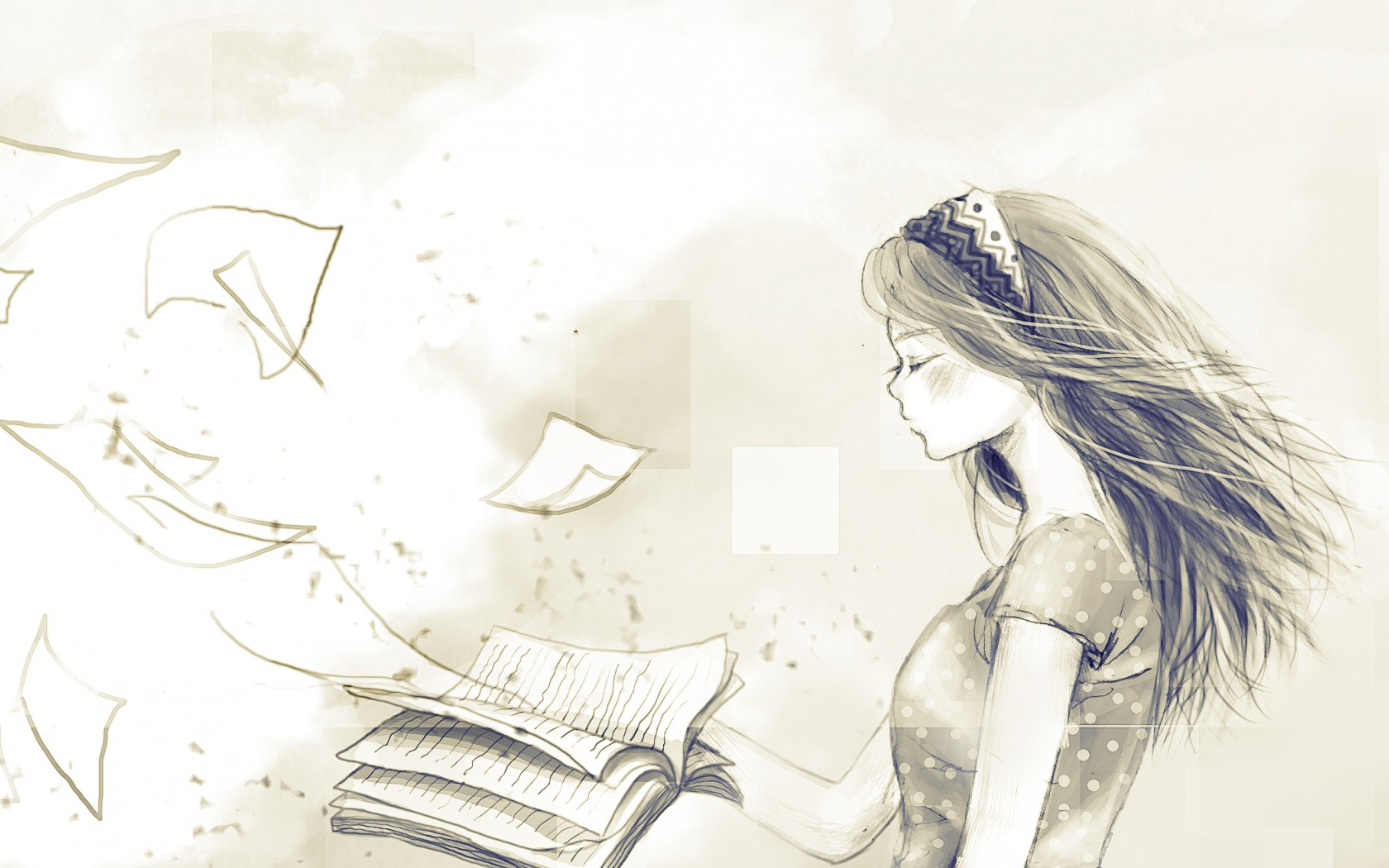 Drawn wallpaper black book Drawing papers fly girl