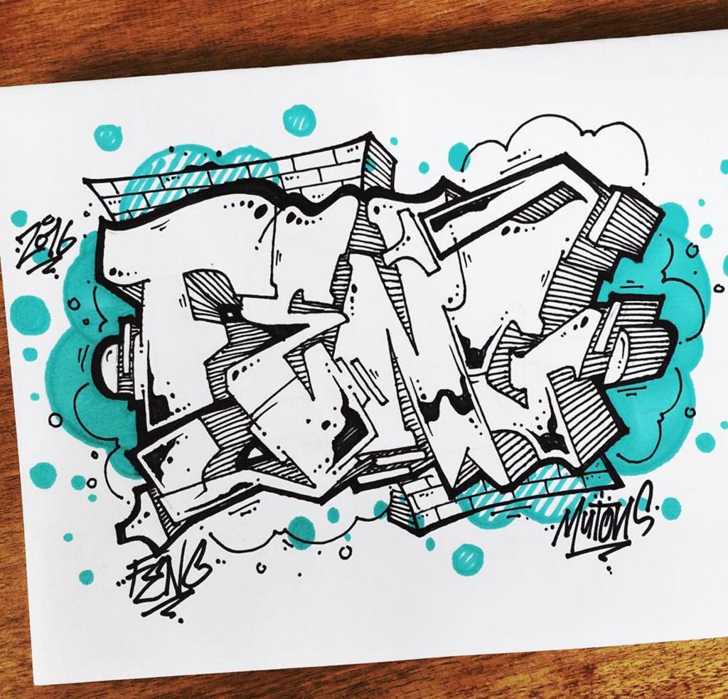 Drawn wallpaper black book Letter Blue : Graffiti 3D