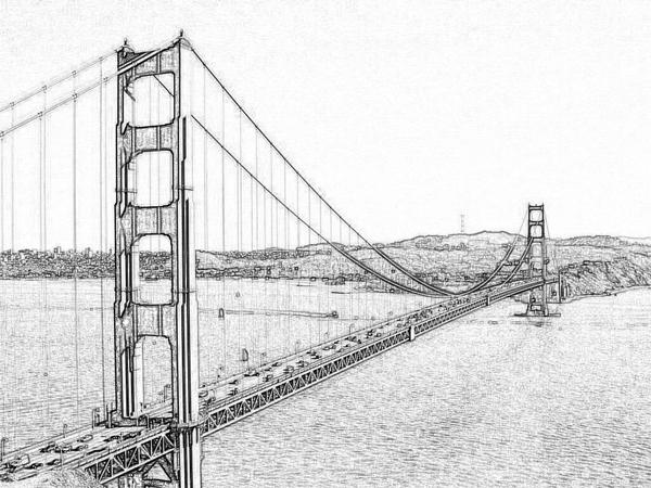 Drawn wallpaper broken bridge Black Black White & Pencil