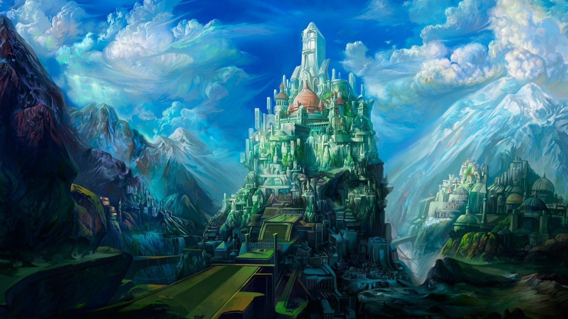 Drawn wallpaper castle 1920x1080 47783 3D Art Landscape: