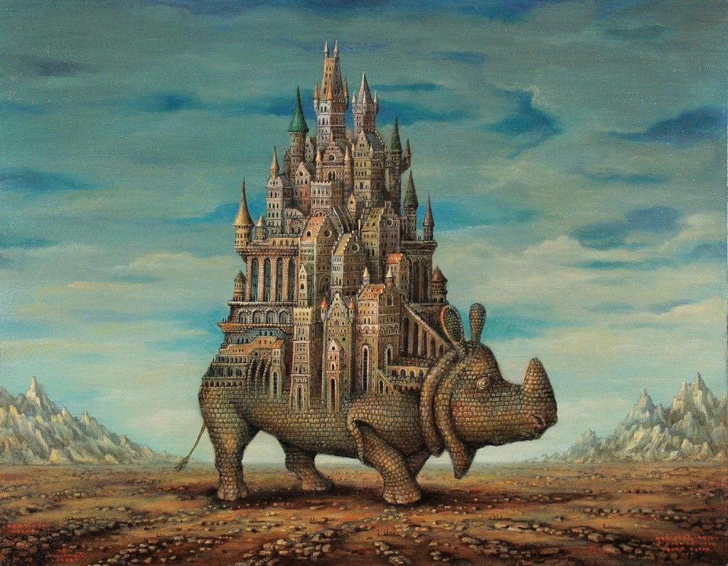 Drawn wallpaper castle Rock Tower Animals Art Artwork