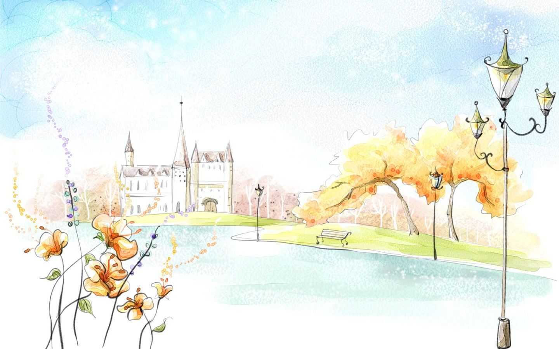 Drawn wallpaper castle Landscape 900 Wide widescreen and