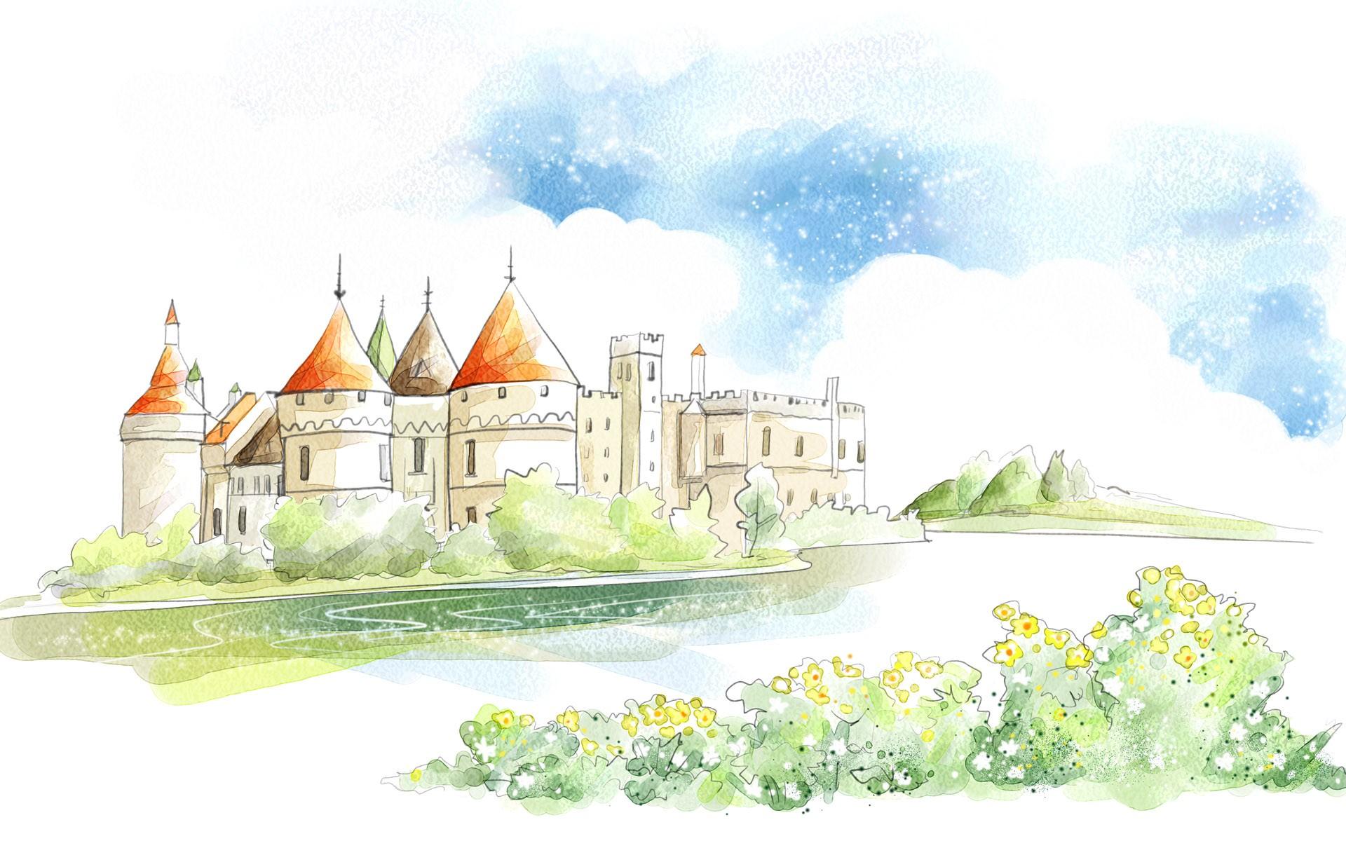 Drawn wallpaper castle  Castle wallpaper Drawing Wide