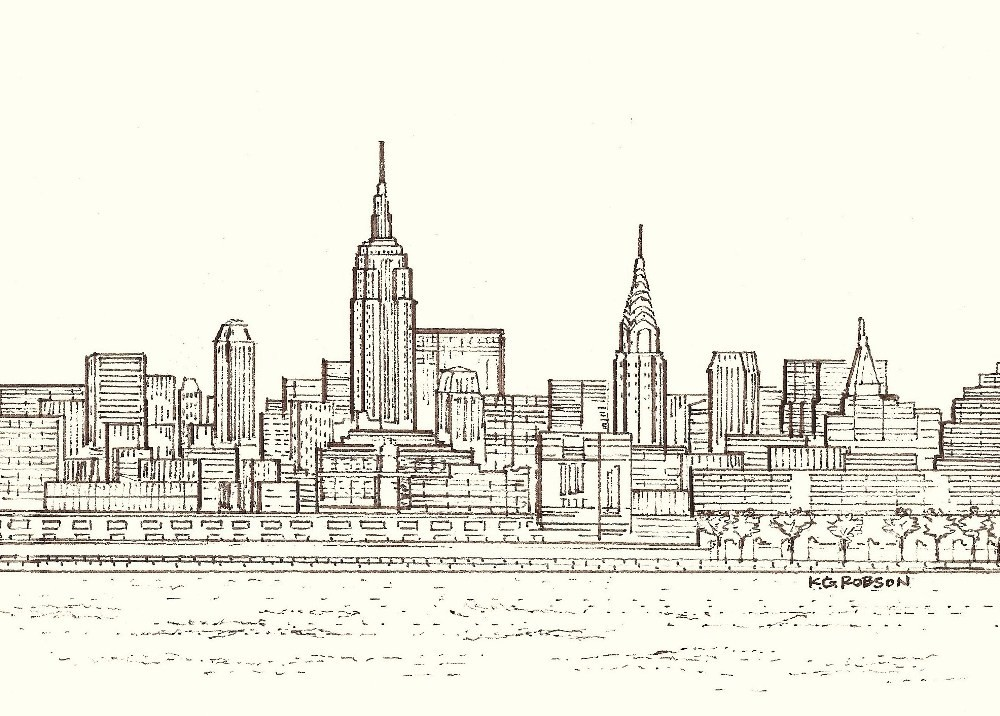 Drawn skyline simple Gallery Download Drawing Nyc Art