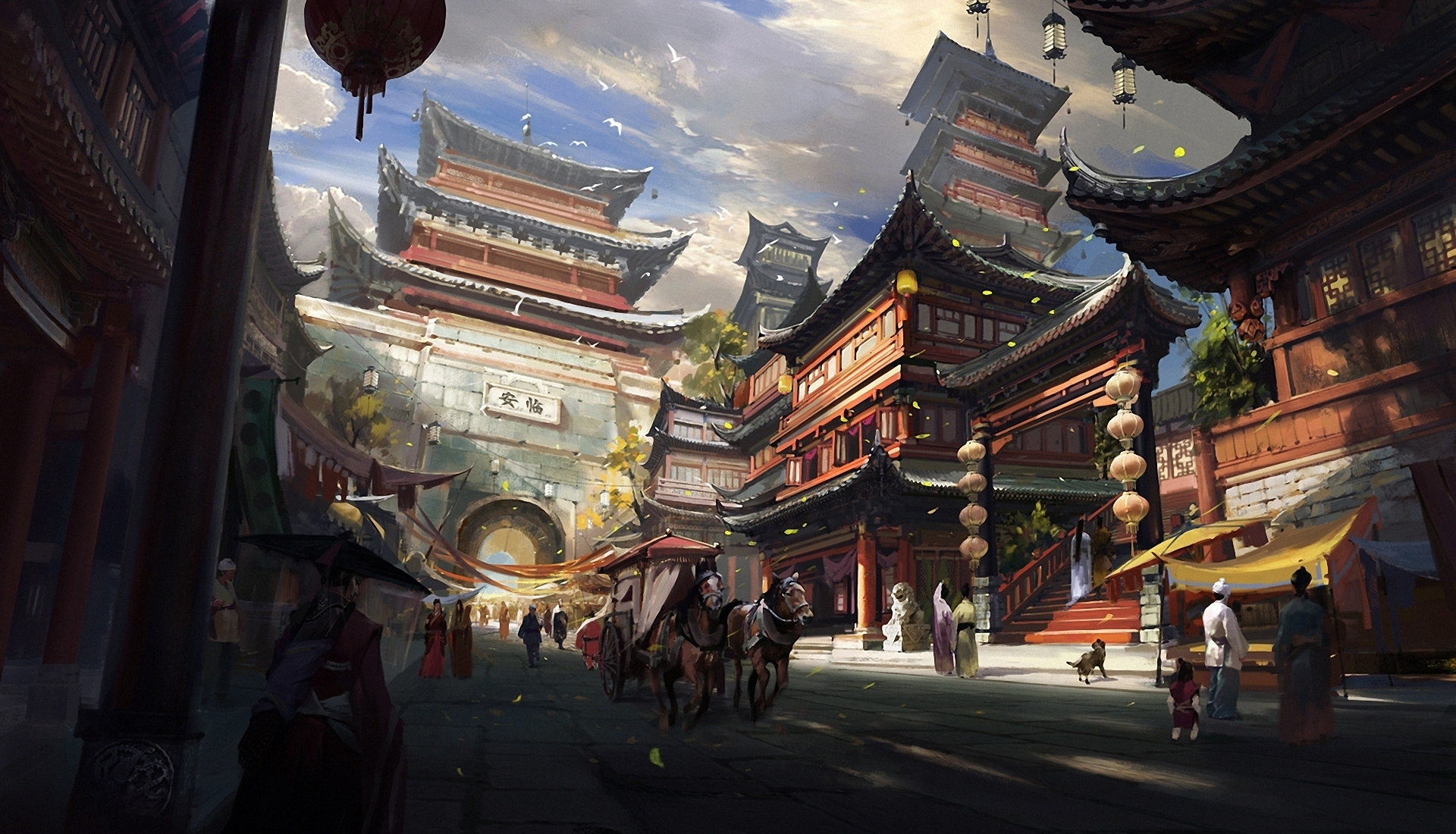 Drawn wallpaper city Japanese city wallpapers Japanese of