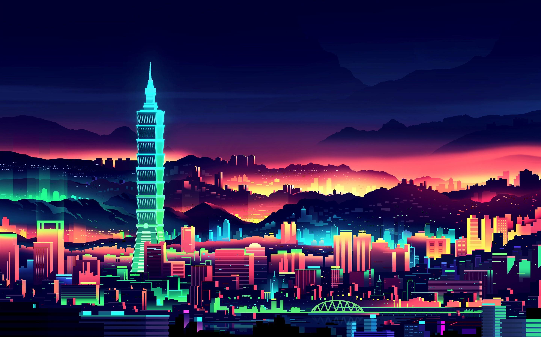 Drawn wallpaper cityscape #neon #drawing #Taipei General digital