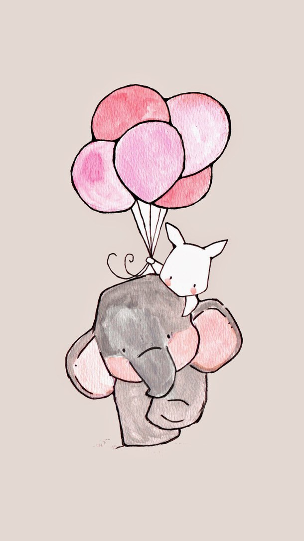 Drawn wallpaper cute Elephant balloons wallpaper iphone elephant