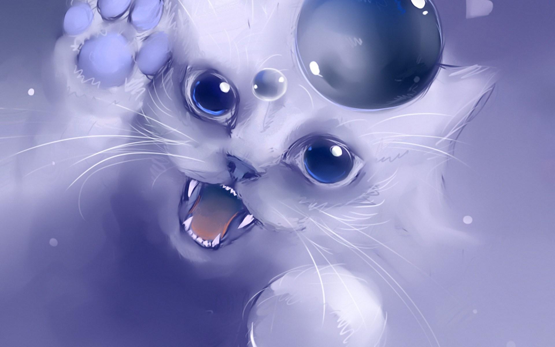 Drawn wallpaper cute anime cat Cat cat Anime drawing kitty