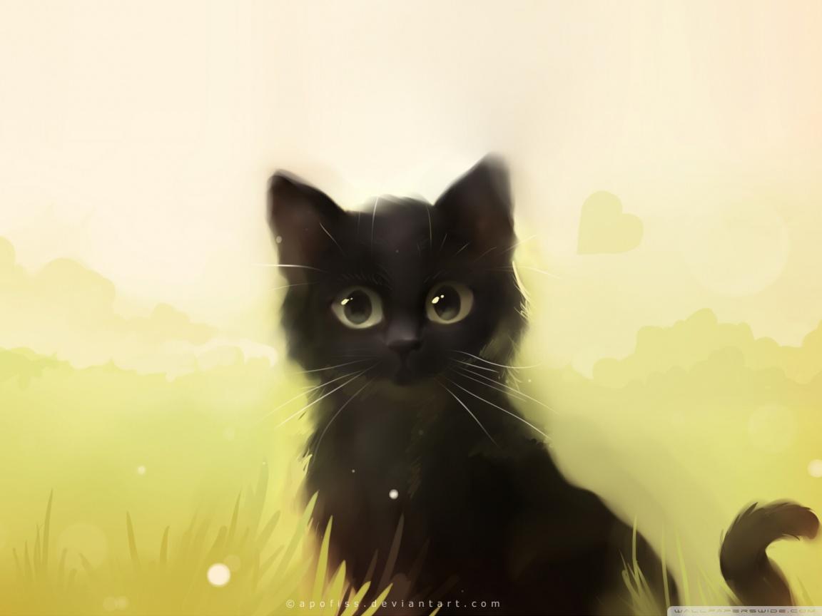 Drawn wallpaper cute anime cat : desktop Definition : HD