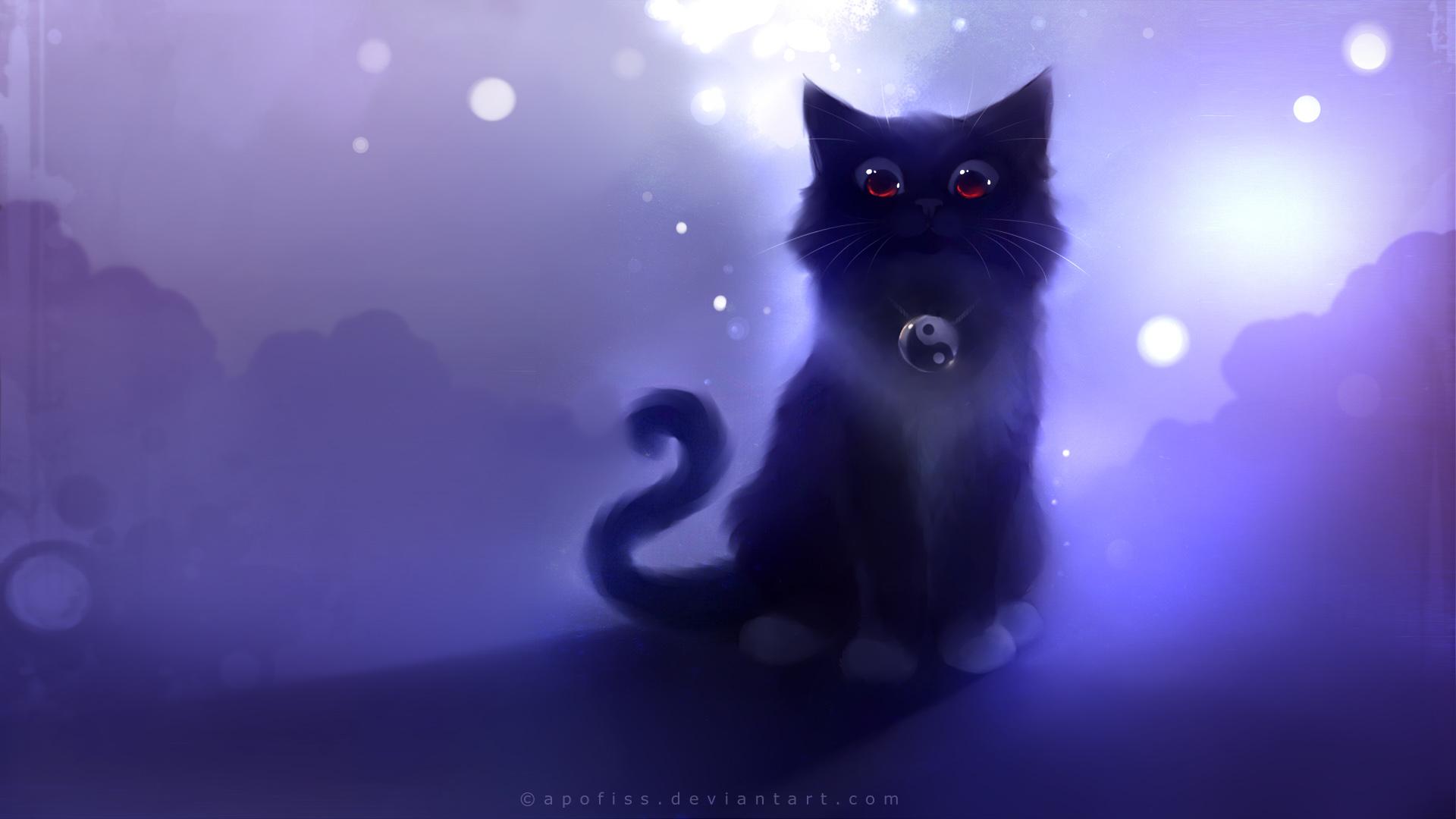Drawn wallpaper cute anime cat « Apofiss Drawing Black Image