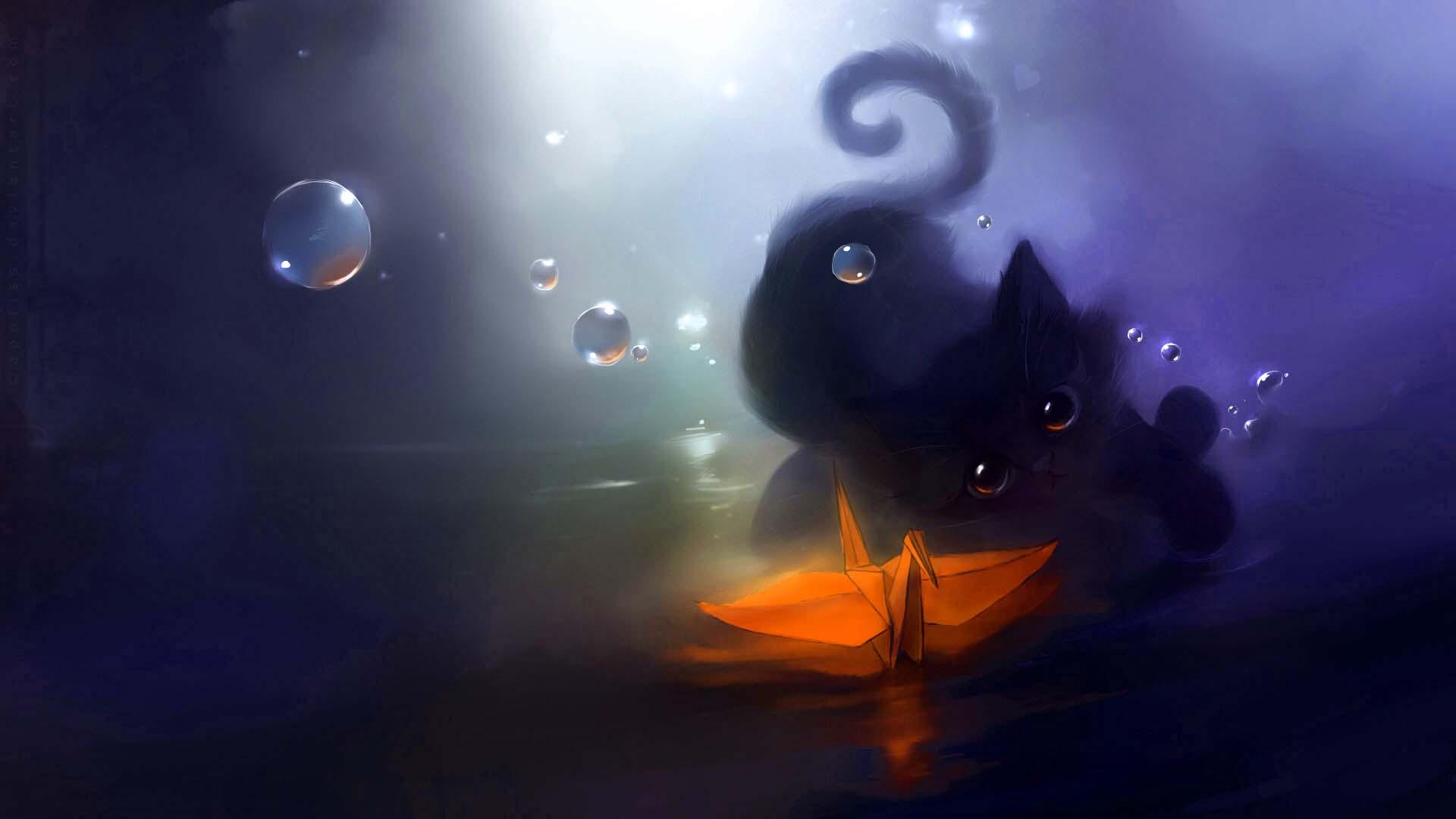Drawn wallpaper cute anime cat Px Free Animal Black 1920x1080