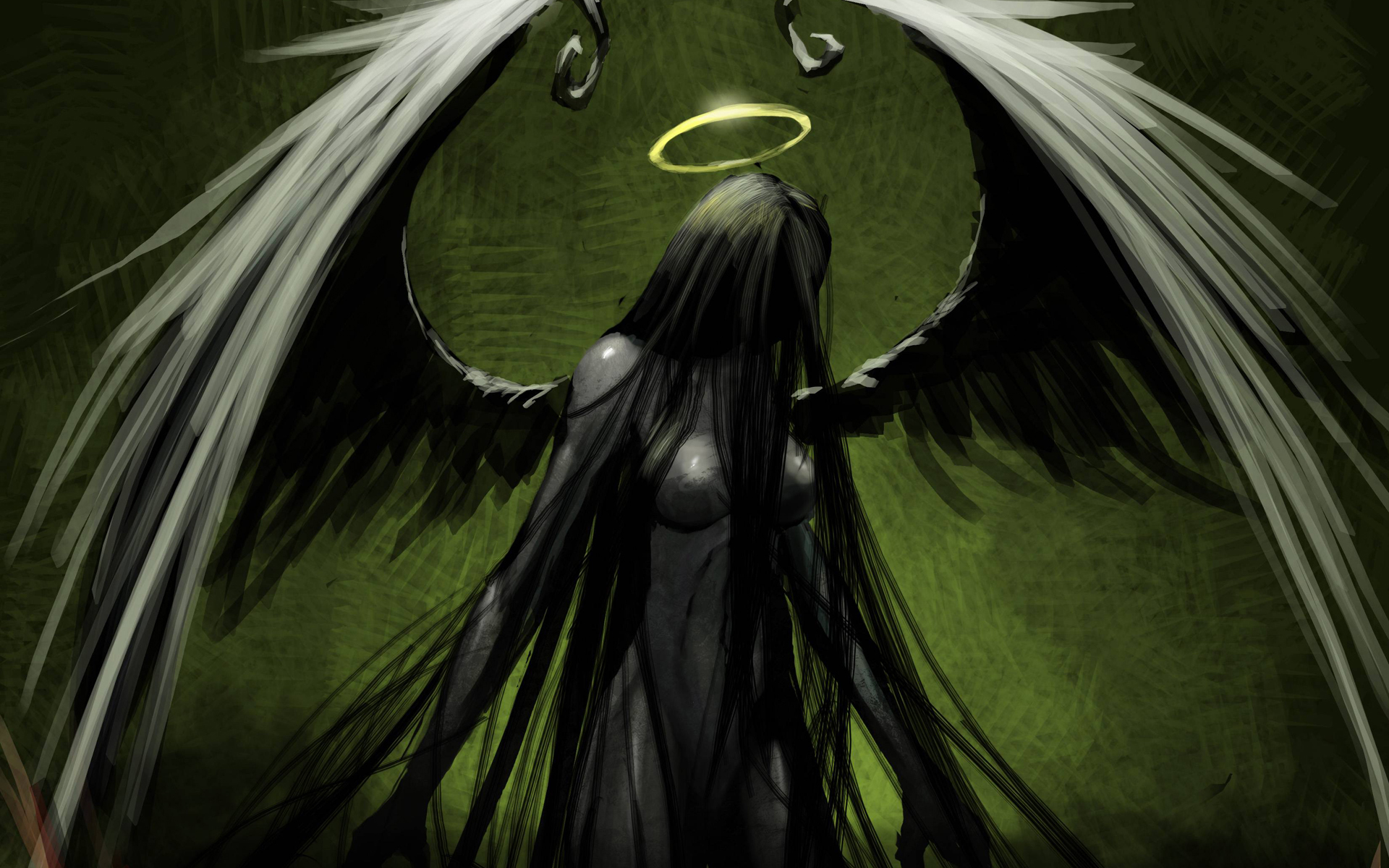 Drawn raven angel Wings wallpaper Wings Demon Reaper