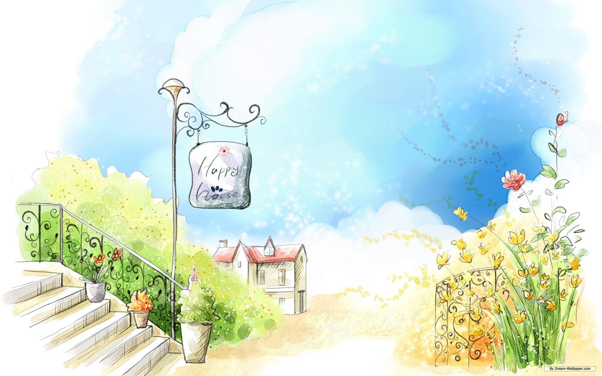 Drawn scenery desktop background Art Desktop Backgrounds Drawing WallDevil