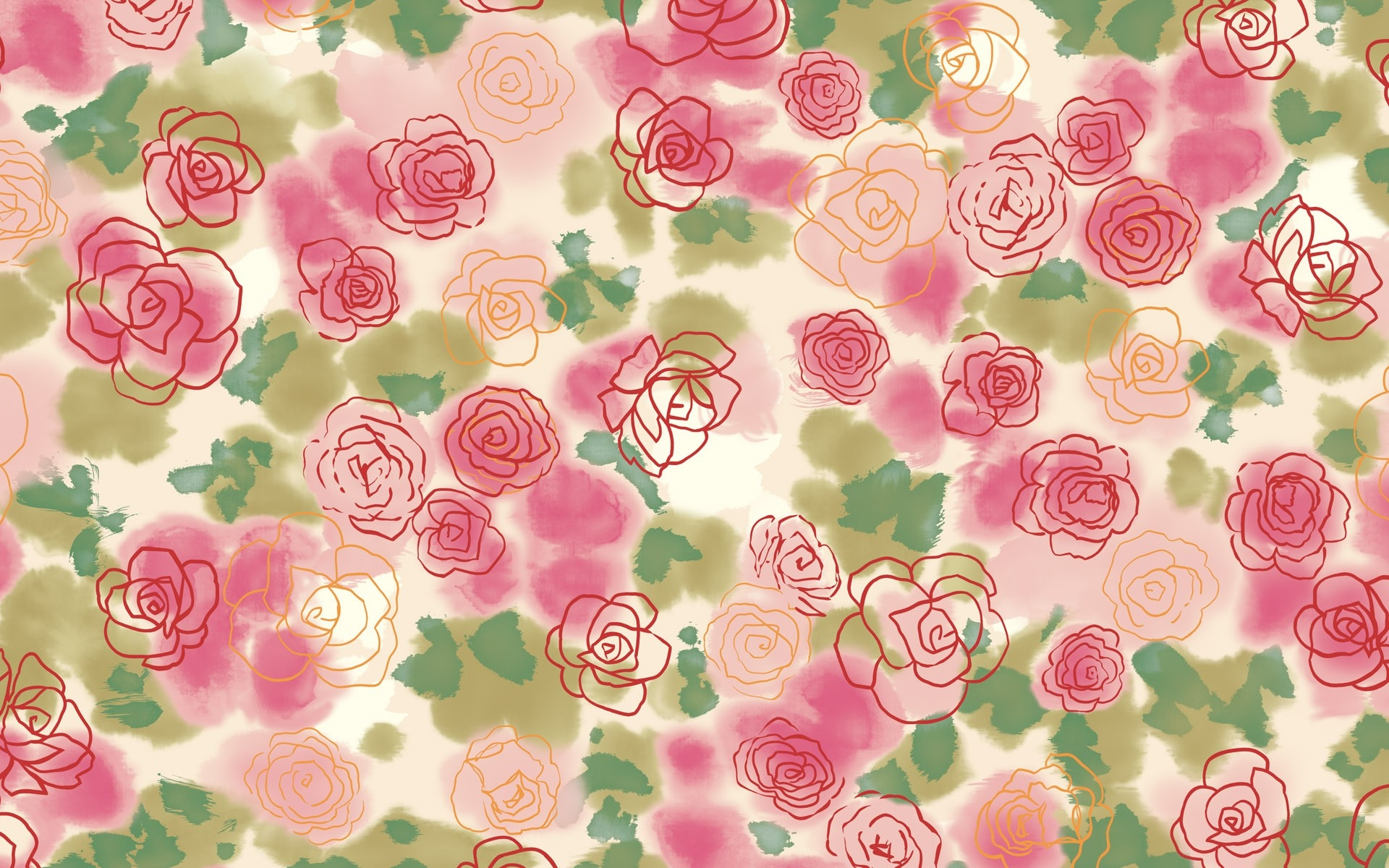 Drawn rose background Download 1920x1200 Drawing Wallpaper Flowers