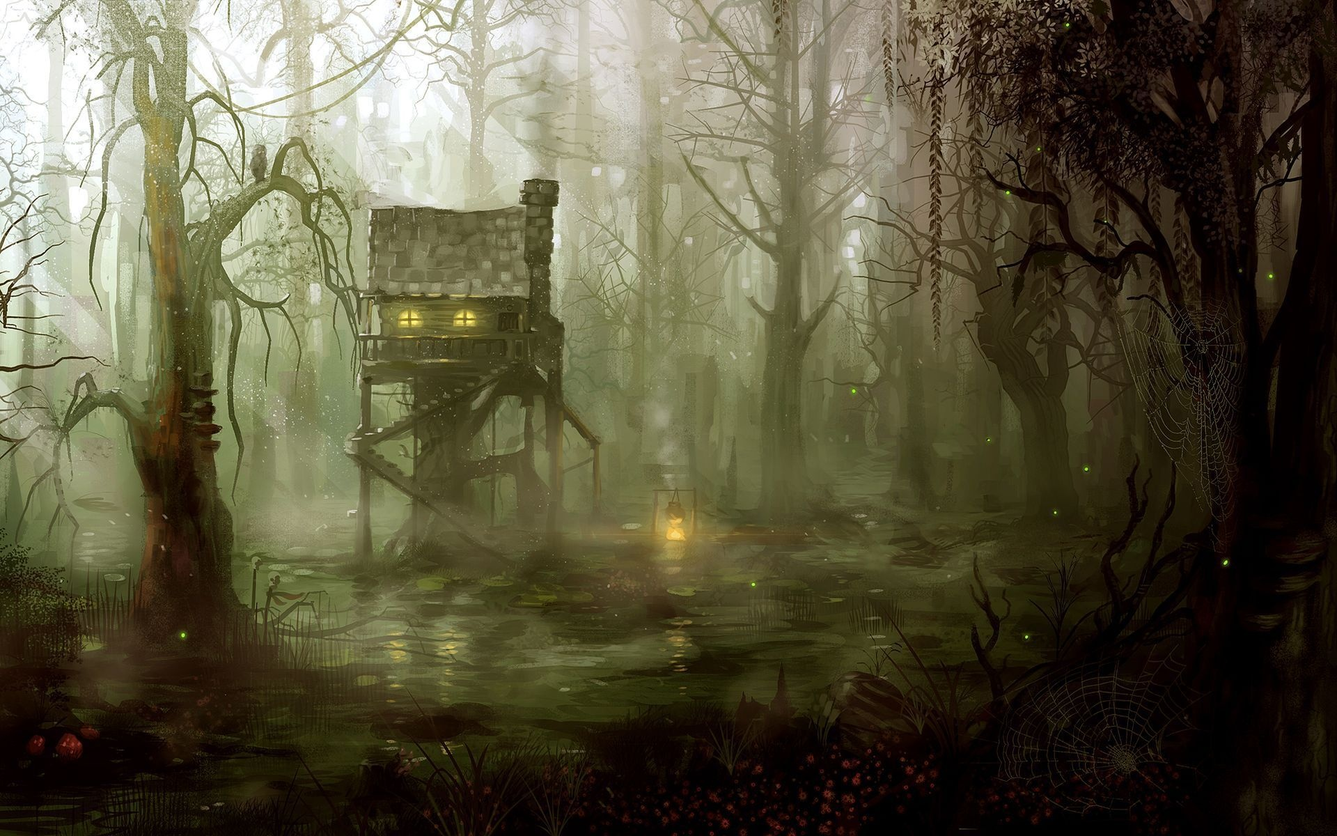Drawn forest spooky Houses painting architecture artistic dark