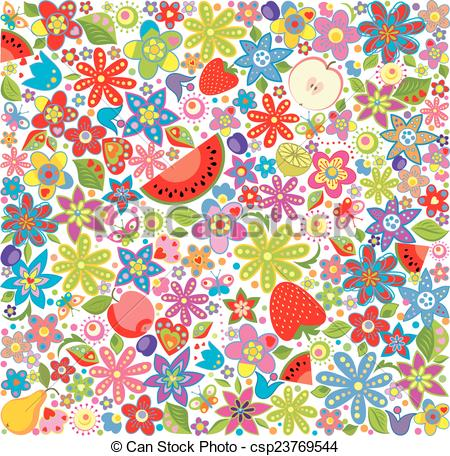 Drawn wallpaper fruit Floral csp23769544 Summery floral Vector